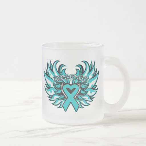 PCOS Awareness Heart Wings.png 10 Oz Frosted Glass Coffee Mug