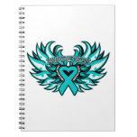 PCOS Awareness Heart Wings Spiral Notebook