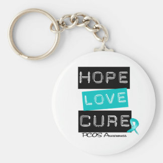 PCOS Awareness  Hope Love Cure Basic Round Button Keychain