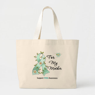 PCOS Awareness I Wear PCOS Ribbon For My Mother Jumbo Tote Bag