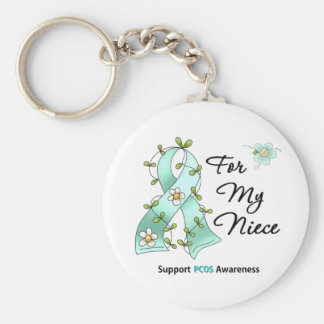 PCOS Awareness I Wear PCOS Ribbon For My Niece Basic Round Button Keychain
