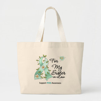 PCOS Awareness I Wear PCOS Ribbon Sister-in-Law Jumbo Tote Bag