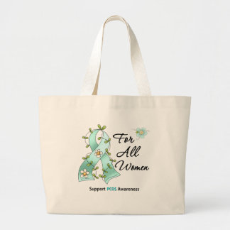 PCOS Awareness I Wear Teal Ribbon For All Women Tote Bags