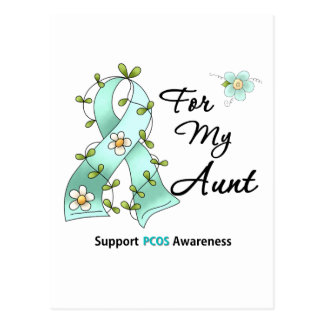 PCOS Awareness I Wear Teal Ribbon For My Aunt Postcard
