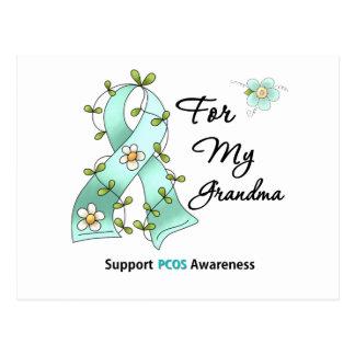 PCOS Awareness I Wear Teal Ribbon For My Grandma Postcard
