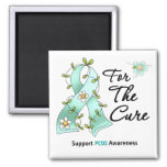 PCOS Awareness I Wear Teal Ribbon For the CURE 2 Inch Square Magnet