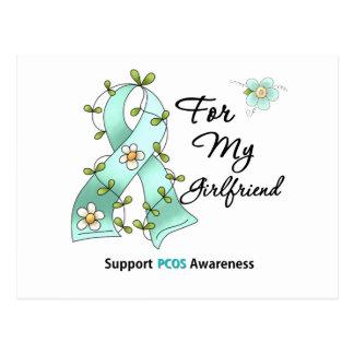 PCOS Awareness I Wear Teal Ribbon Girlfriend Postcard
