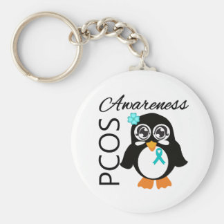 PCOS Awareness Penguin Basic Round Button Keychain