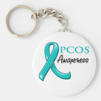 PCOS Awareness Ribbon Basic Round Button Keychain