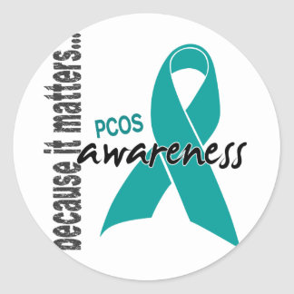 PCOS Awareness Round Stickers