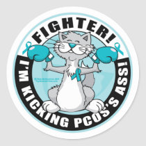 PCOS Boxing Cat Classic Round Sticker
