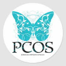 PCOS Butterfly Classic Round Sticker