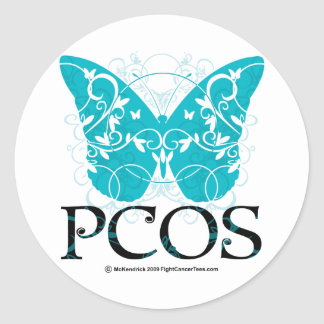 PCOS Butterfly Round Stickers