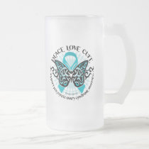PCOS Butterfly Tribal 2 Frosted Glass Beer Mug