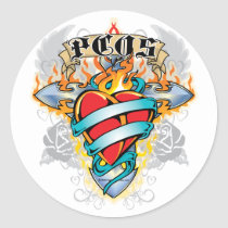 PCOS Cross & Heart Classic Round Sticker