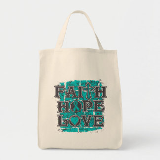 PCOS Faith Hope Love Grocery Tote Bag