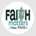 PCOS Faith Matters Cross 1 Classic Round Sticker