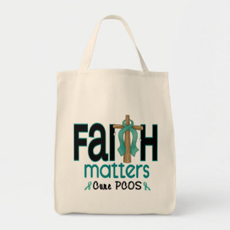 PCOS Faith Matters Cross 1 Grocery Tote Bag