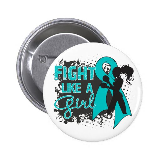 PCOS Fight Like A Girl Grunge Pin