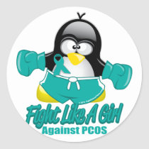PCOS Fighting Penguin Classic Round Sticker