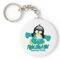 PCOS Fighting Penguin Keychain