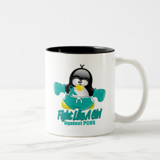PCOS Fighting Penguin Two-Tone Coffee Mug