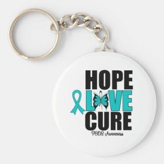 PCOS Hope Love Cure Basic Round Button Keychain