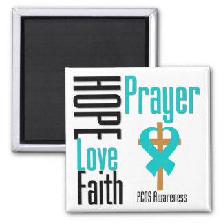 PCOS Hope Love Faith Prayer Cross Refrigerator Magnet