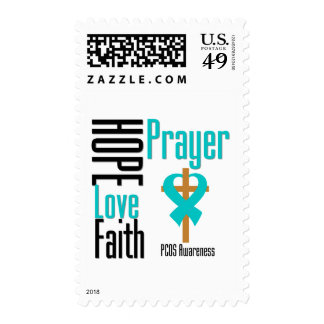 PCOS Hope Love Faith Prayer Cross Postage Stamps