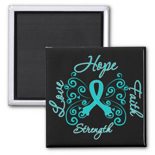 PCOS Hope Motto Butterfly 2 Inch Square Magnet