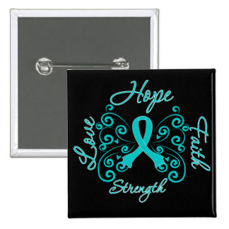 PCOS Hope Motto Butterfly 2 Inch Square Button