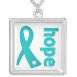 PCOS Hope Teal Ribbon Pendants