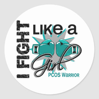 PCOS I Fight Like A Girl 13.2 Round Stickers