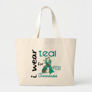 PCOS I Wear Teal For Awareness 43 Jumbo Tote Bag
