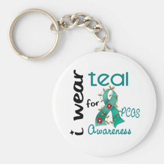 PCOS I Wear Teal For Awareness 43 Keychain