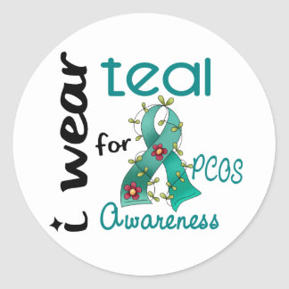 PCOS I Wear Teal For Awareness 43 Classic Round Sticker
