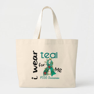 PCOS I Wear Teal For ME 43 Jumbo Tote Bag