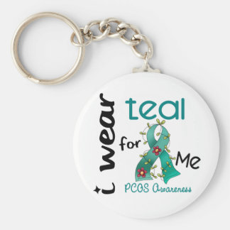 PCOS I Wear Teal For ME 43 Basic Round Button Keychain