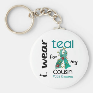 PCOS I Wear Teal For My Cousin 43 Basic Round Button Keychain