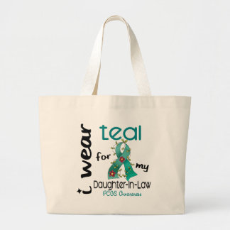 PCOS I Wear Teal For My Daughter-In-Law 43 Jumbo Tote Bag