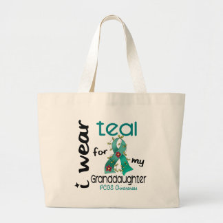 PCOS I Wear Teal For My Granddaughter 43 Jumbo Tote Bag