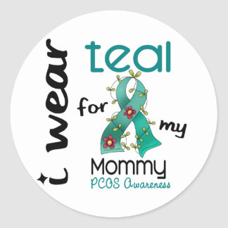 PCOS I Wear Teal For My Mommy 43 Classic Round Sticker