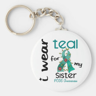 PCOS I Wear Teal For My Sister 43 Basic Round Button Keychain
