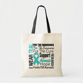PCOS I Wear Teal Ribbon Tribute Canvas Bag