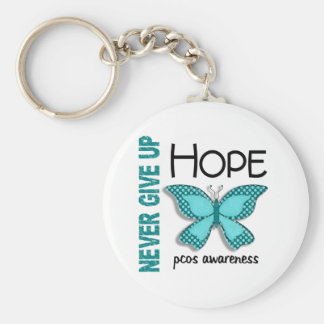 PCOS Never Give Up Hope Butterfly 4.1 Basic Round Button Keychain