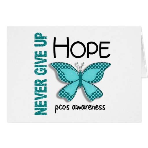 PCOS Never Give Up Hope Butterfly 4.1 Greeting Card