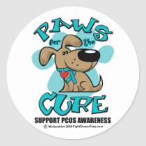 PCOS Paws for the Cure Classic Round Sticker