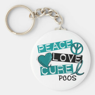 PCOS Peace Love Cure 1 Basic Round Button Keychain