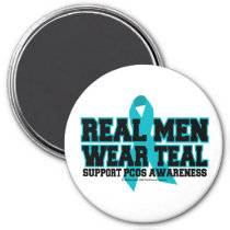 PCOS Real Men Wear Teal 3 Inch Round Magnet