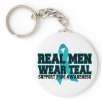 PCOS Real Men Wear Teal Keychain